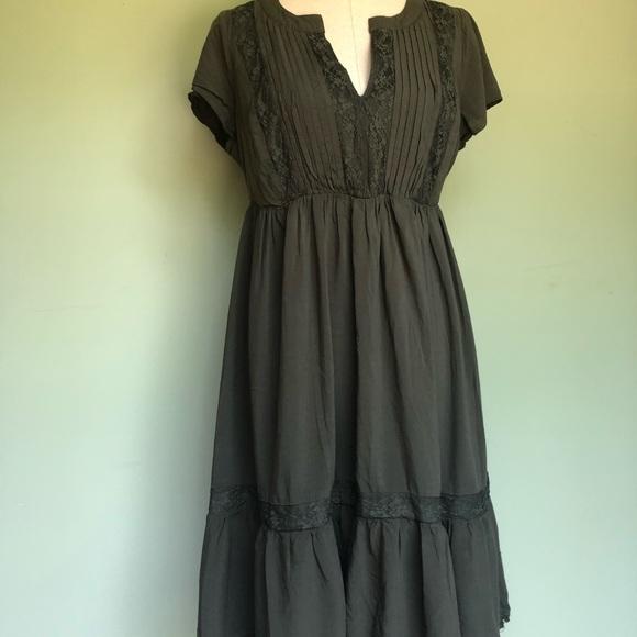 1b5405362b Torrid Olive Green Challis Lace Inset Dress